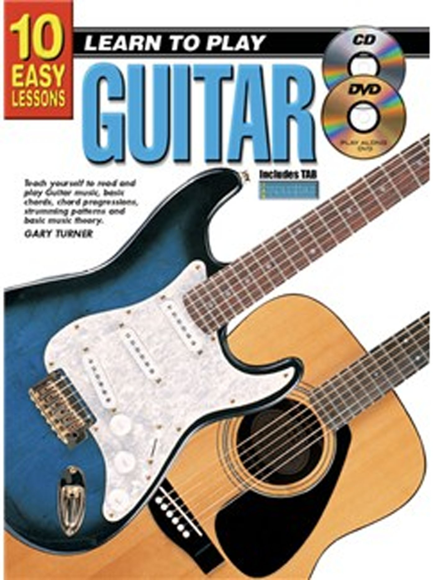 10 Easy Lessons Learn To Play Guitar Tutor Book CD & DVD Gary Turner S137