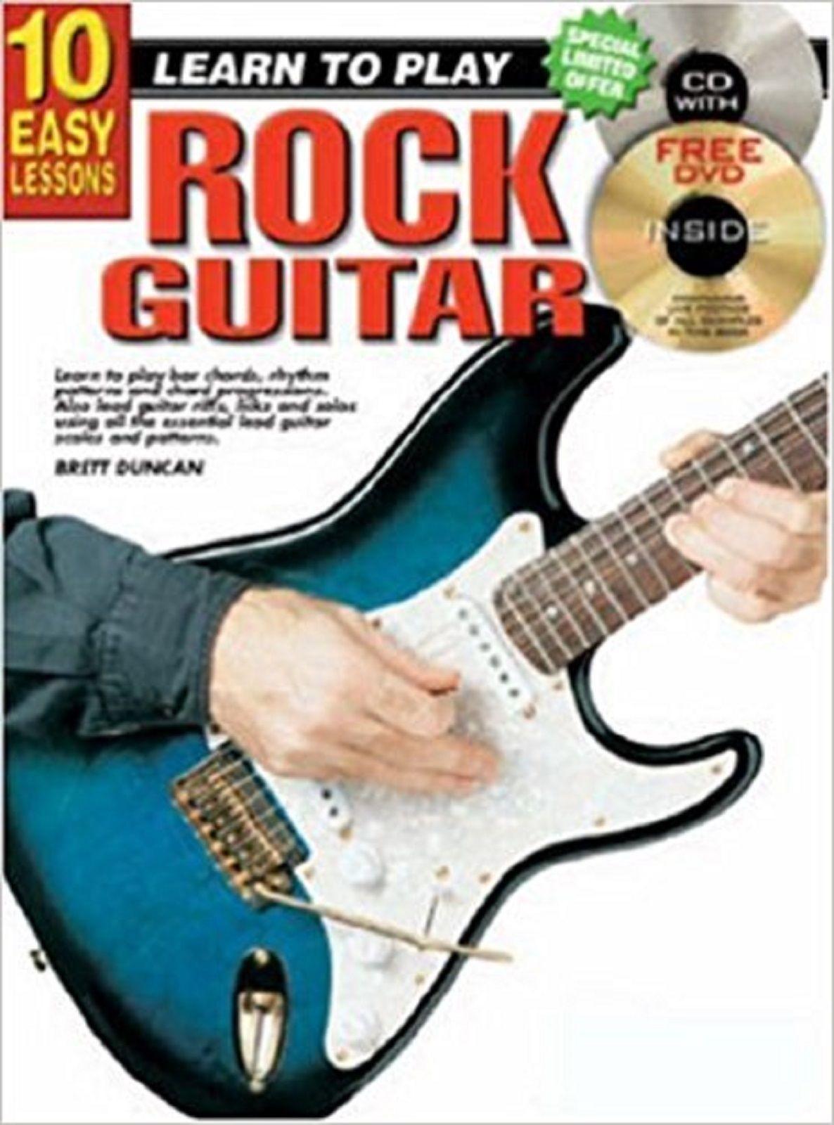10 Easy Lessons Rock Guitar Book CD DVD Learn Play Tutor Brett Duncan B62 S151