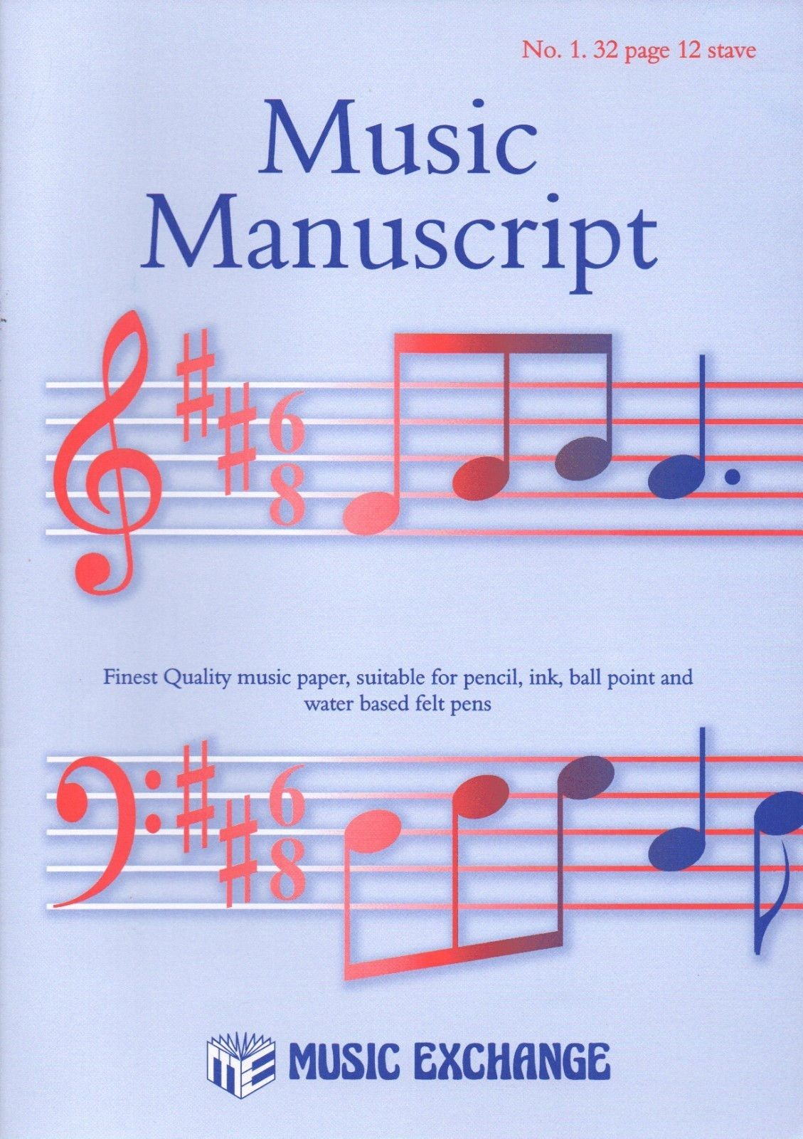 Music Manuscript Book Paper A4 32 Pages 12 Staves Per Page Quality Pen Ink S143