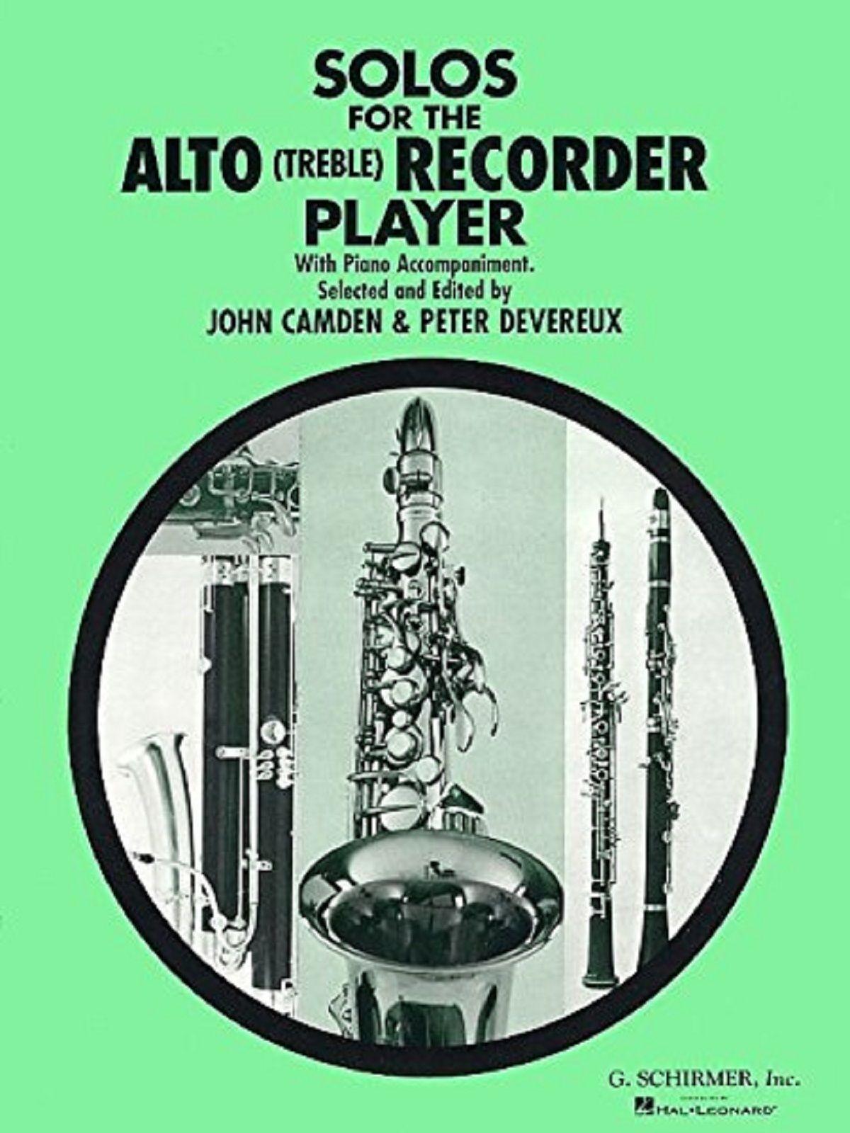 Solos For The Alto / Treble Recorder Player Piano Book Ed Camden & Devereux S105