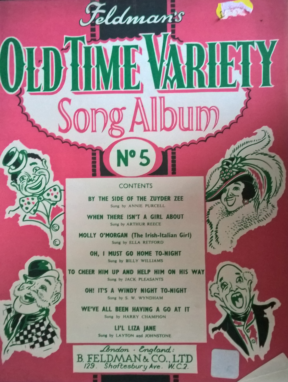 Feldmans Old Time Variety Song Album Number 5 Piano Chords Lyrics Book S112