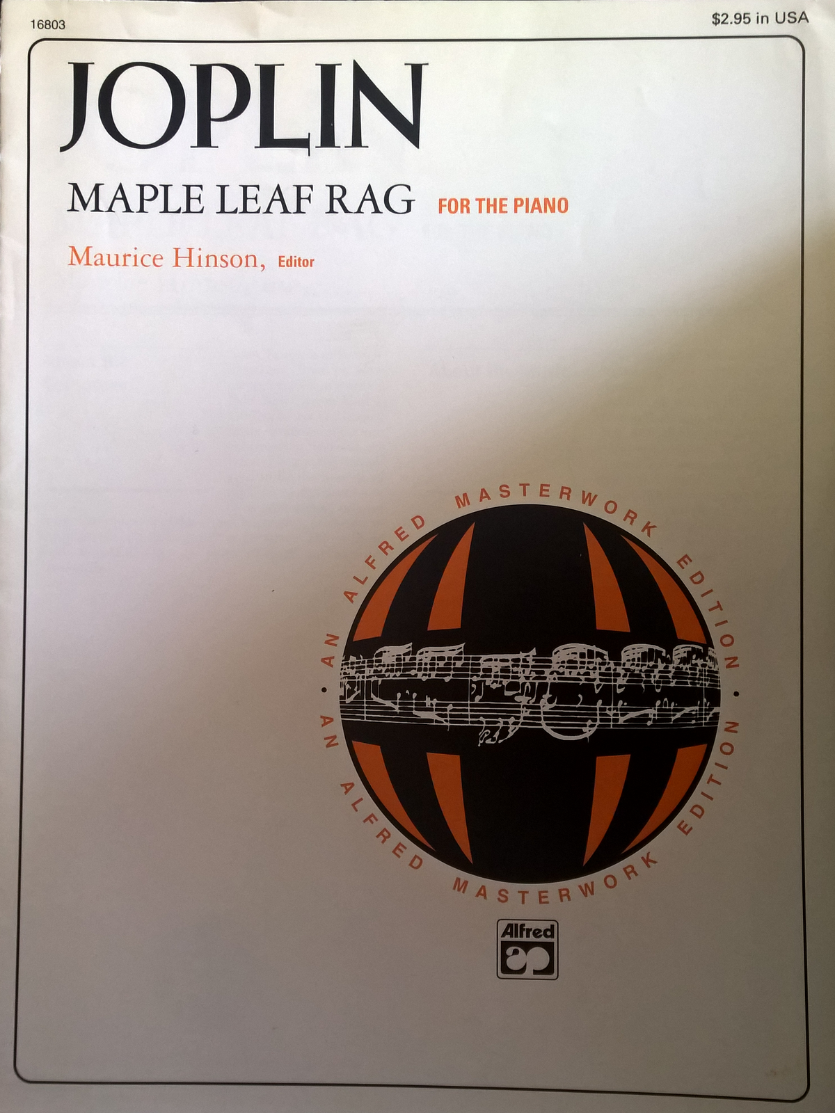 Joplin Maple Leaf Rag For The Piano Edited Maurice Hinson Solo Sheet Music S112