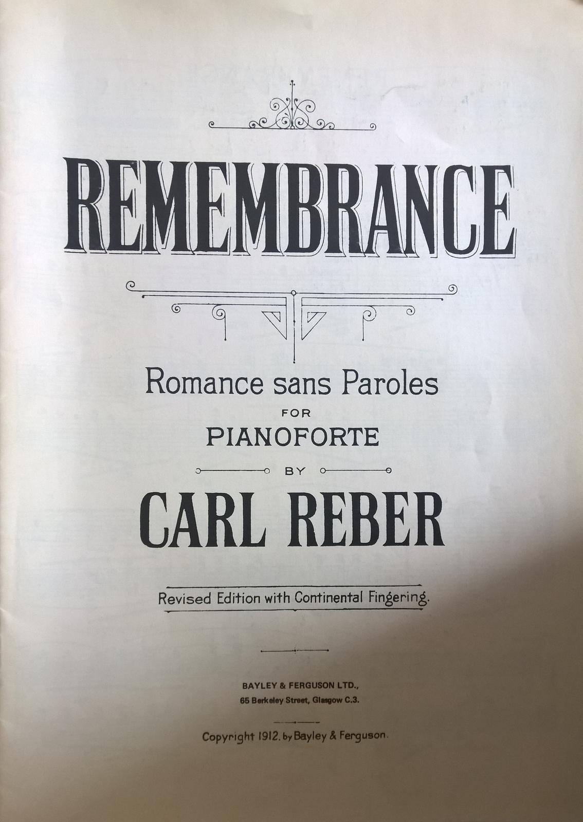 Remembrance Romance Sans Paroles Piano Carl Reber Solo Sheet Music
