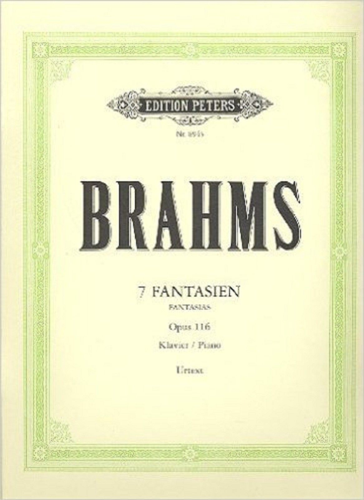 Brahms 7 Fantasies Opus 116 Urtext Sheet Music Piano Book Peters Edition S123