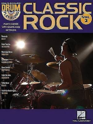 Hal Leonard Drum Play-Along Book CD Classic Rock Vol 2 Drum Kit Tutor Method B42