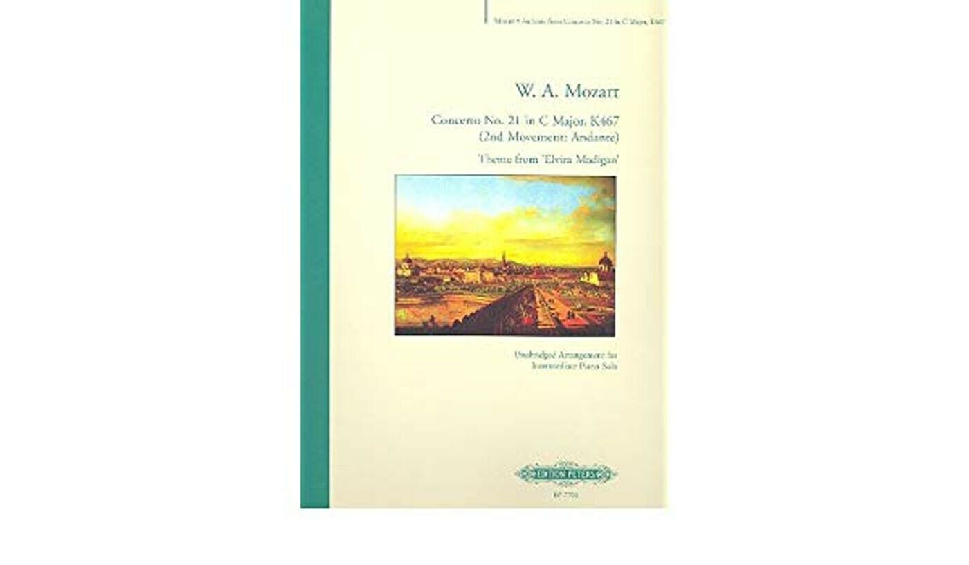 W. A. Mozart Concerto no 21 in C Major 2nd Movement Sheet Music Solo Piano B52