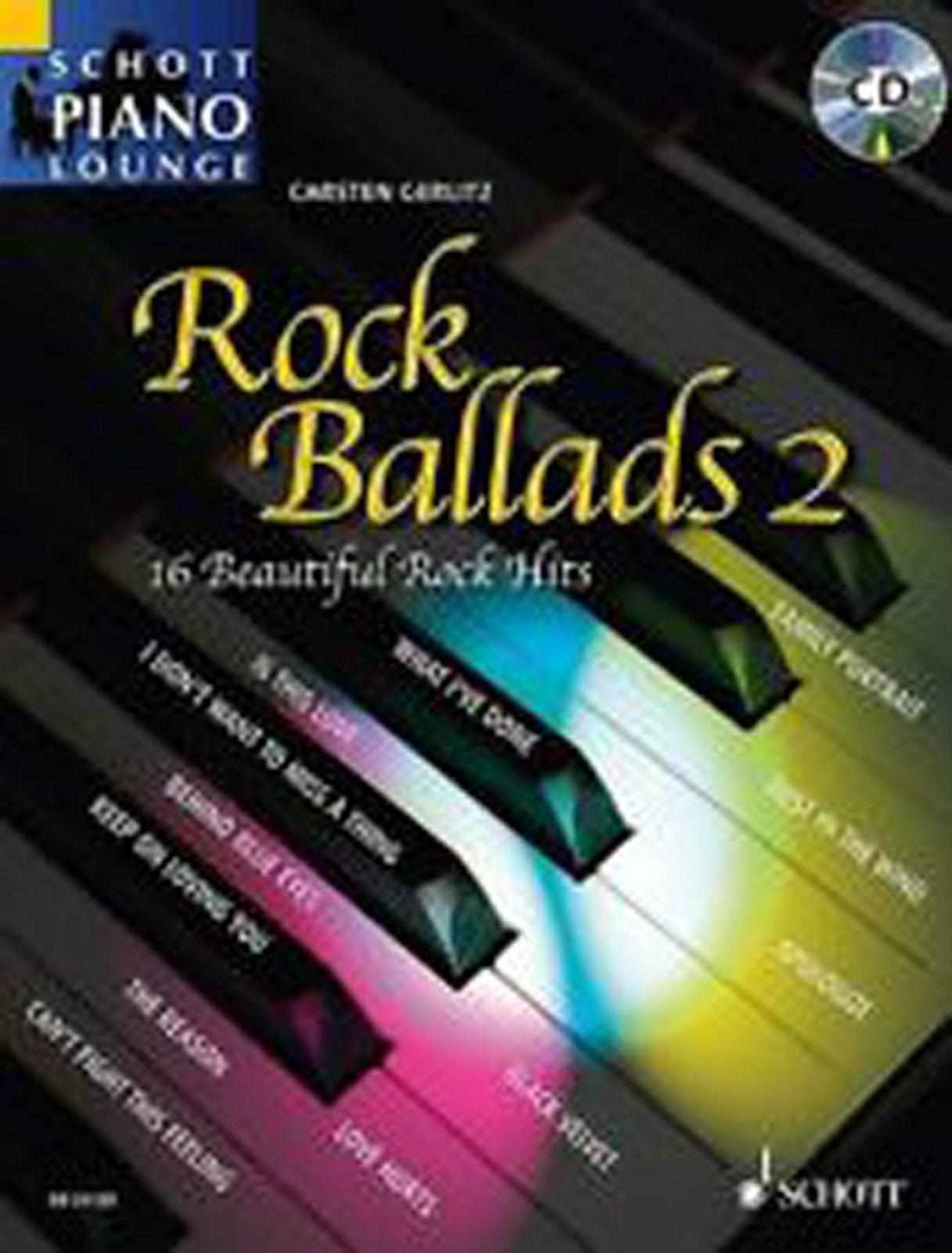Rock Ballads 2 Schott Piano Lounge Sheet Music Songbook CD Grade 5+ Gerlitz B51