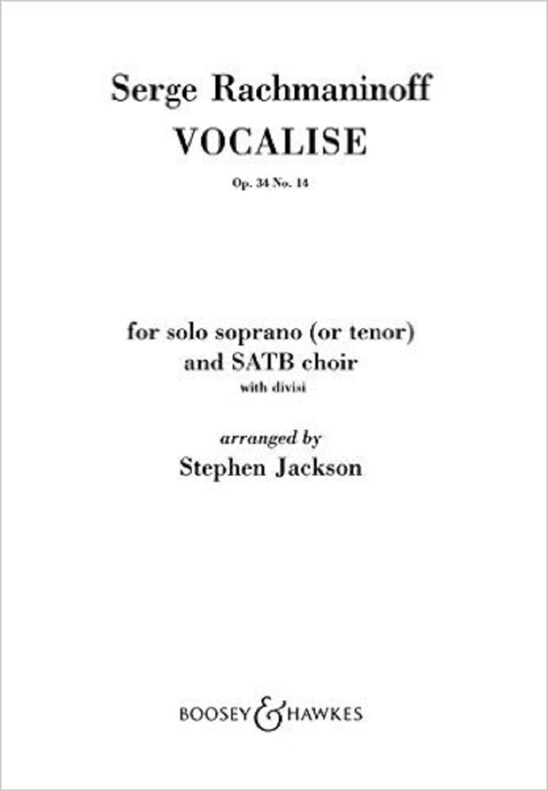 Serge Rachmaninoff Vocalise Op 34 No 14 Solo Soprano & SATB Choir Book B&H S126