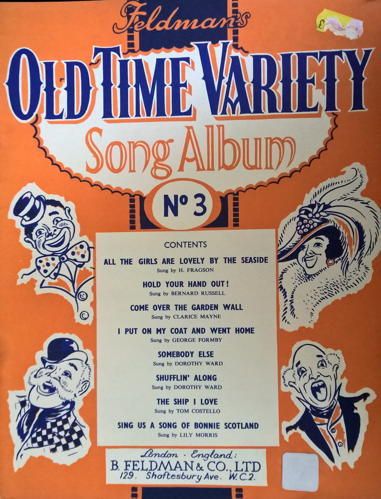 Feldmans Old Time Variety Song Album Number 3 Piano Sheet Music Book S112
