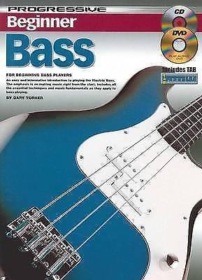 Beginner Bass Progressive Tutor Book CD DVD Gary Turner Learn Guitar S107