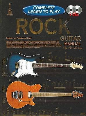 Complete Learn to Play Rock Guitar Manual Tutor Book CDs Peter Gelling B42