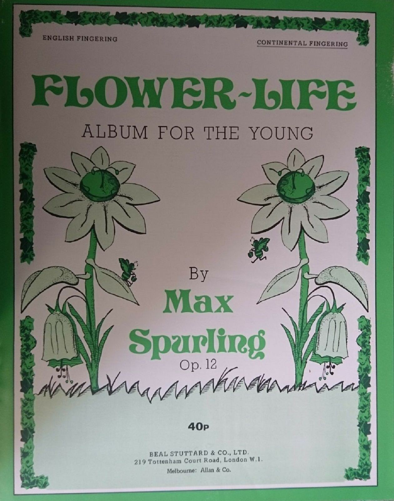 Flower-Life Album For The Young Piano Sheet Music Book Opus 12 Max Spurling S172