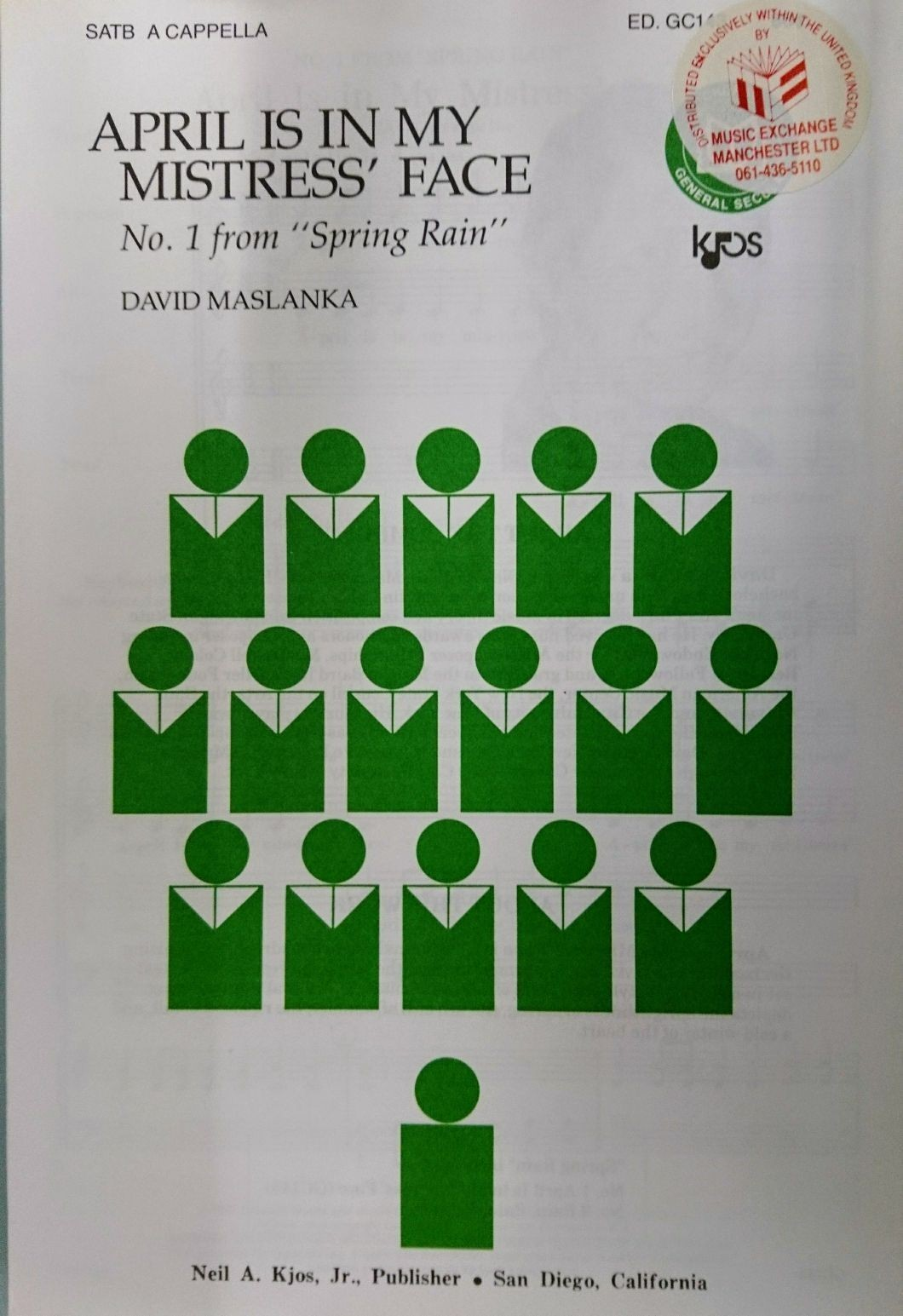 April Is In My Mistress' Face Spring Rain SATB Vocal Sheet Music S162