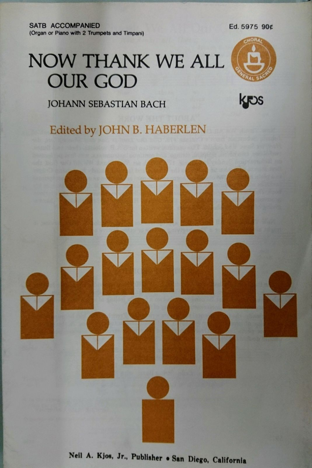 Now Thank We All Our God Bach SATB Accompanied Sheet Music S162