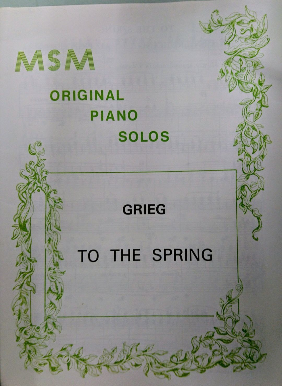Edvard Grieg To The Spring from Lyric Pieces Op 43 No 6 Piano Solo Pub MSM S159