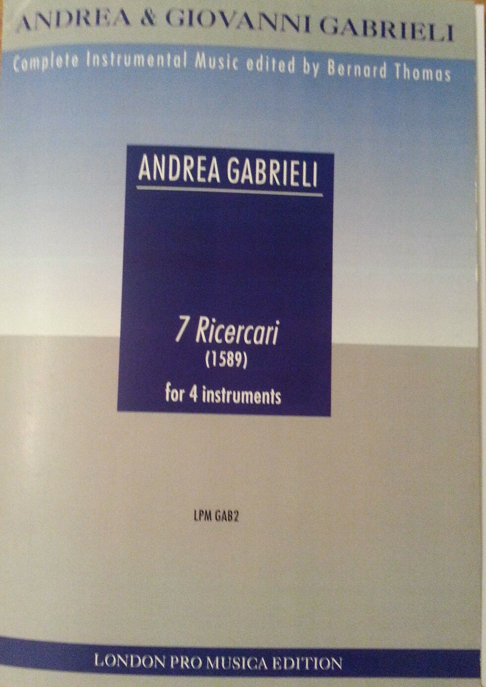 Andrea Gabrieli 7 Ricercari for 4 Instruments Sheet Music Book Score & Parts S58