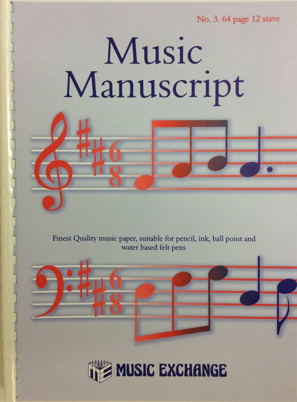 Music Manuscript No 3 ~ 64 Page 12 Stave Notes Theory Pad Spiral Bound Book S126