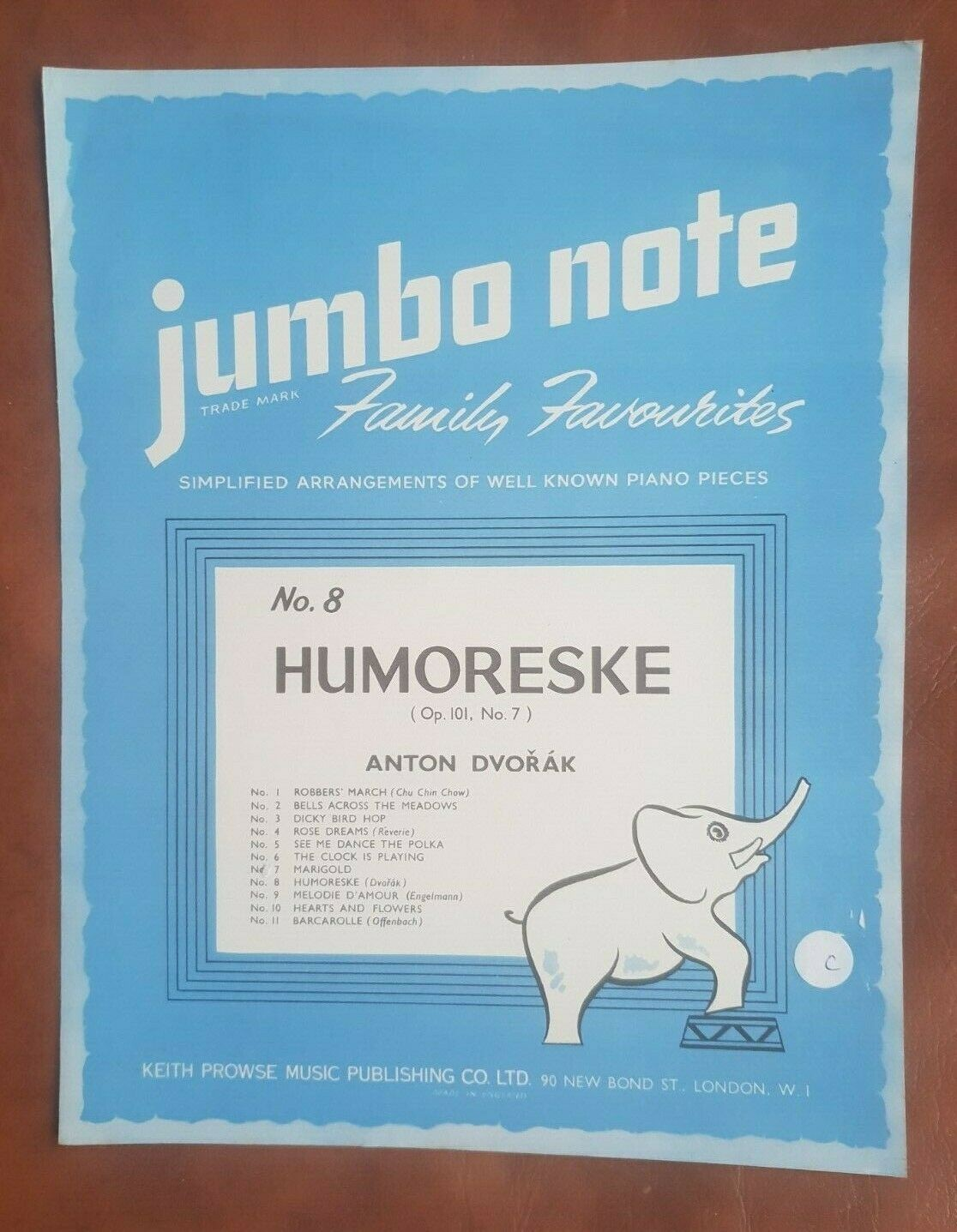 Humoreske Piano Simple Arrangement Jumbo Note Sheet Music No.8 Keith Prowse S89