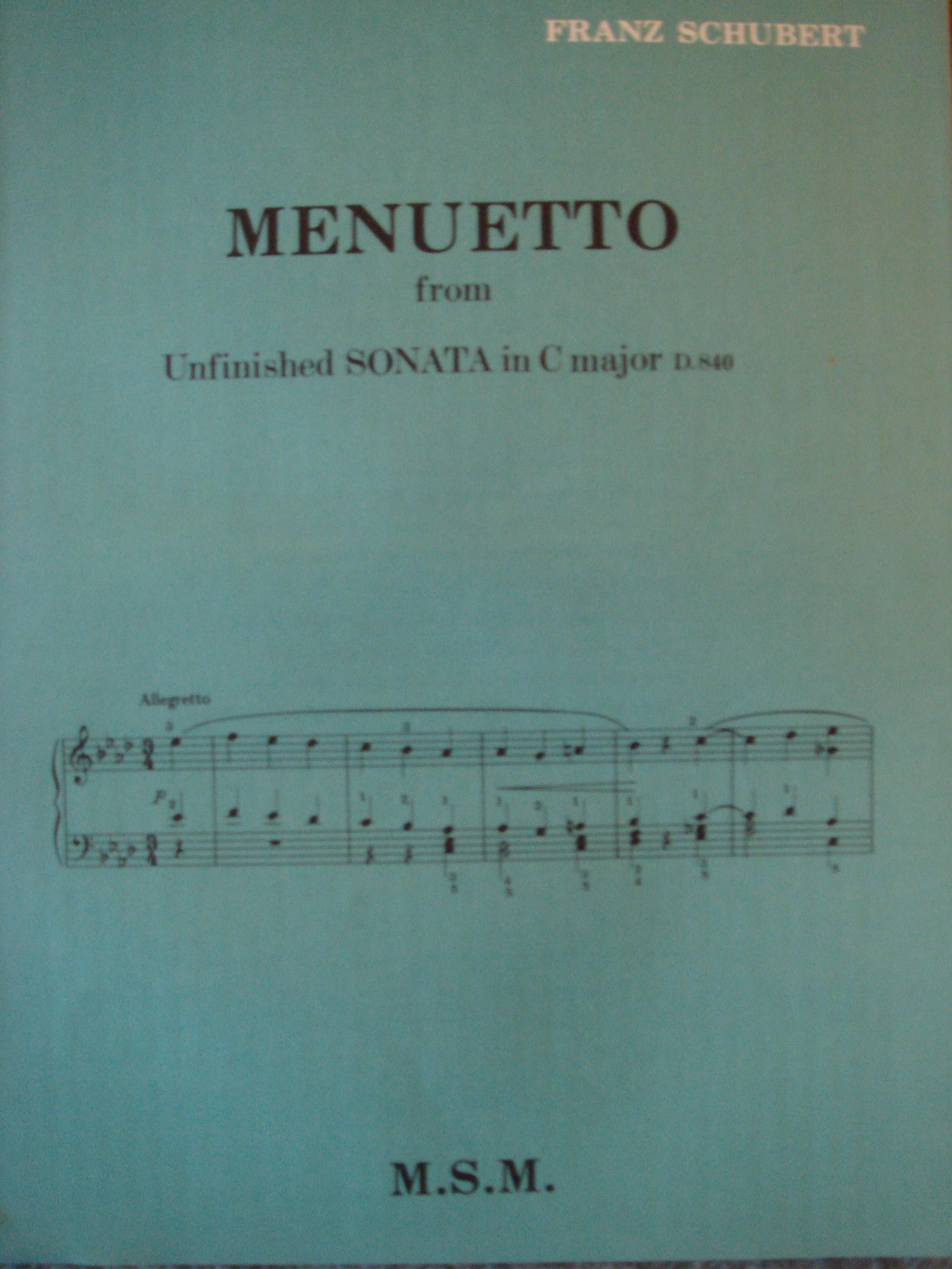 Franz Schubert Menuetto from Unfinished Sonata in C major D.840 Piano Book S98