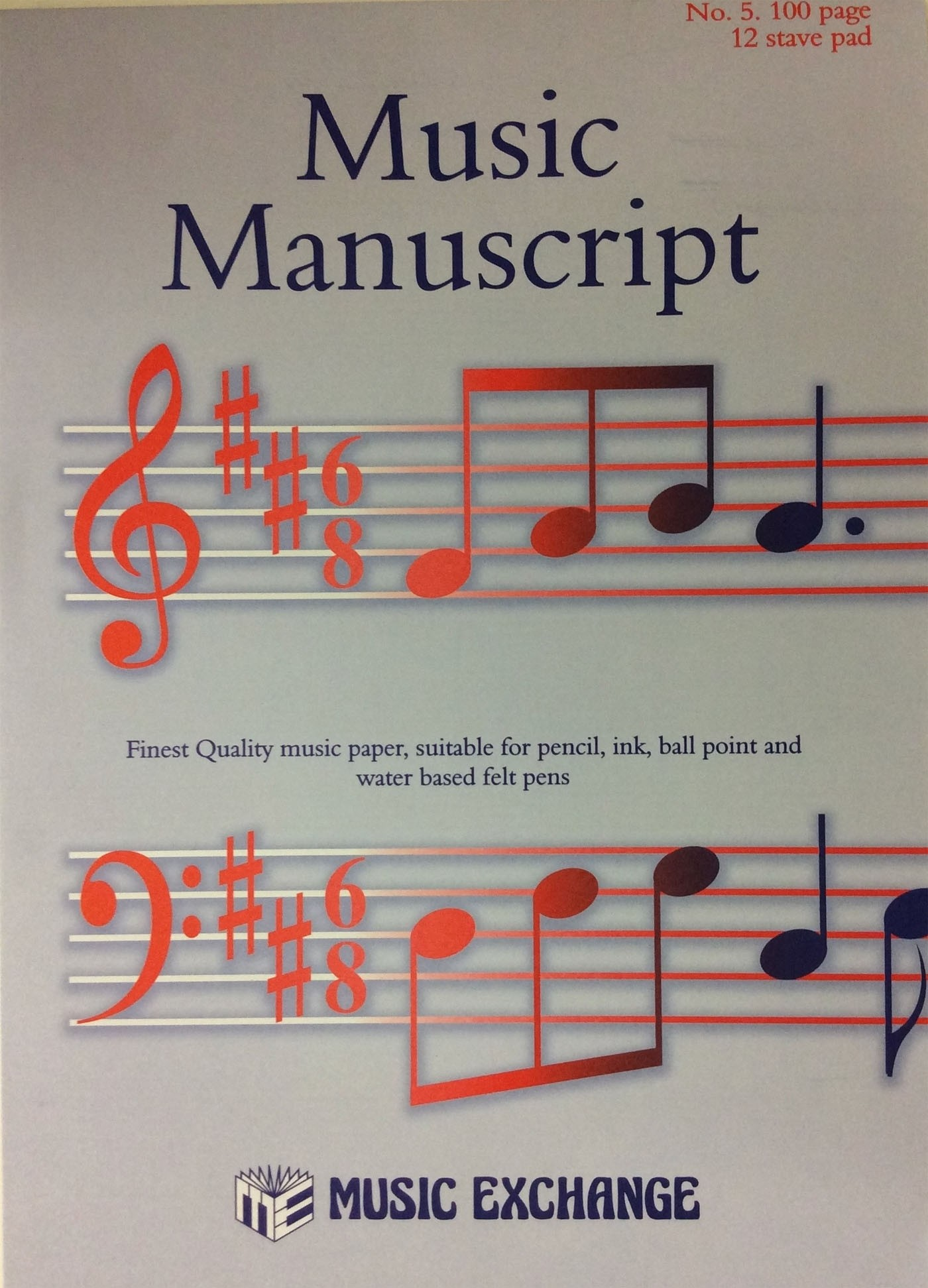 Music Manuscript No 5 100 Page 12 Stave Pad A4 Book Composing Theory S141