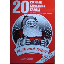 20 Popular Christmas Carols Piano Voice Guitar Play Paint Book Chris Grahame B44