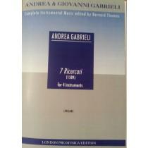 Andrea Gabrieli 7 Ricercari for 4 Instruments Sheet Music Book Score & Parts S58
