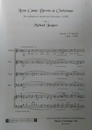 Michael Jacques Love Came Down At Christmas SATB & Piano Sheet Music Book S133