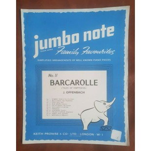 Barcarolle Piano Simple Arrangement Jumbo Note Sheet Music 11 Keith Prowse S89